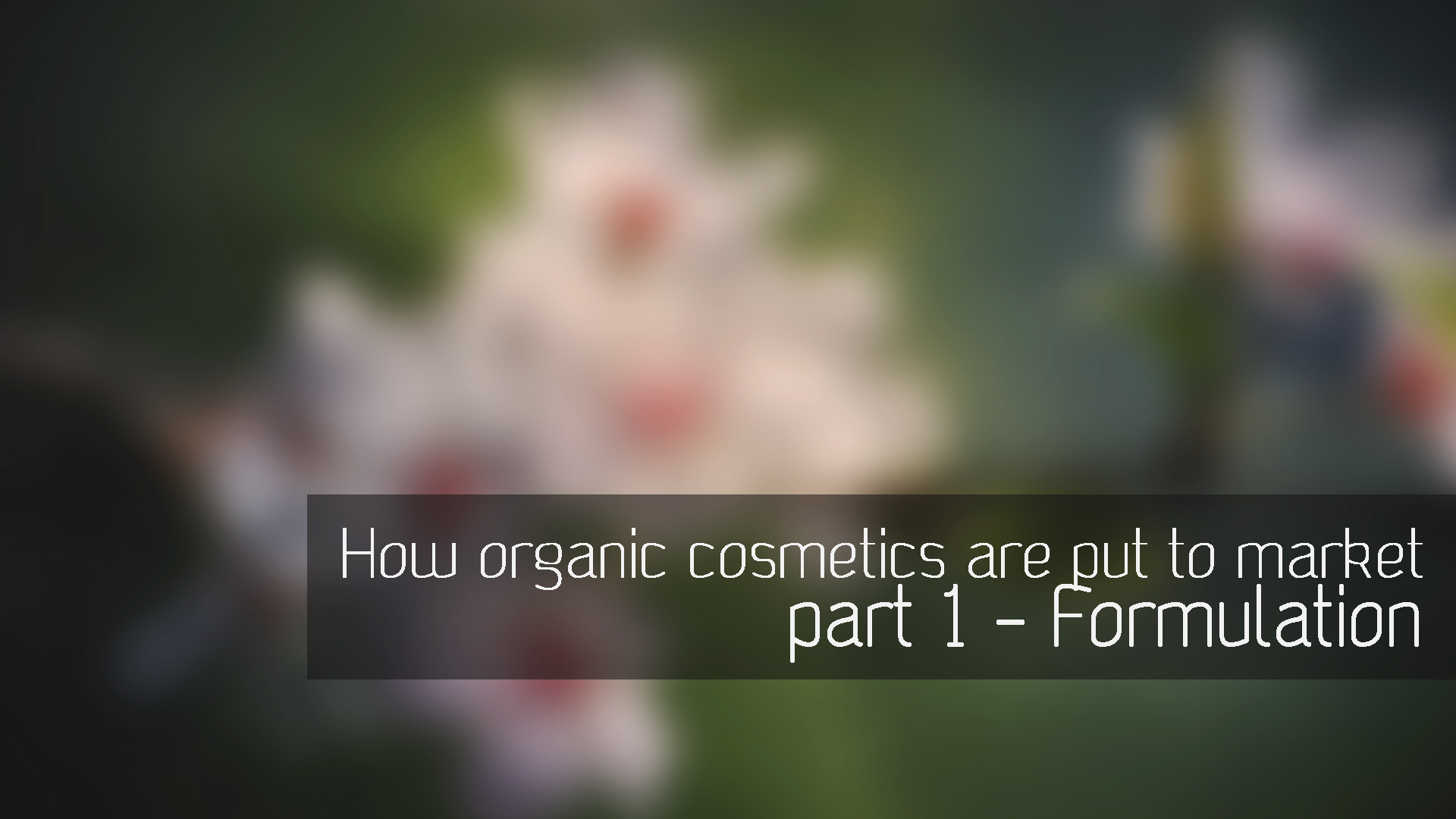How do organic cosmetics get to market? – part 1